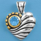 Vintage Two Tone Brilliant Aquamarine CZ Heart Pendant Sterling Silver Antique S