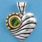 Vintage Two Tone Brilliant Peridot CZ Heart Pendant Sterling Silver Antique Styl