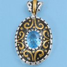 Two Tone Oval Cut Aquamarine Cubic Zirconia Antique Pendant Sterling Silver Anti