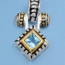 Two Tone Princess Cut Aquamarine CZ Antique Pendant Sterling Silver Antique Styl