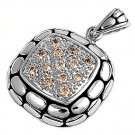 Pave Cushion Cut Champagne CZ Antique Pendant Sterling Silver Antique Style CHAM