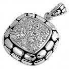 Pave Cushion Cut Cubic Zirconia Antique Pendant Sterling Silver Antique Style CL