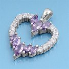 Vintage Marquise Cut Amethyst Cubic Zirconia Heart Pendant Sterling Silver Antiq