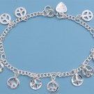 Silver Bracelet W/ Charms - Peace Sign 925 Solid Sterling Silver   7.5 inches In
