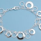 Silver Italian Bracelet W/ Charms 925 Solid Sterling Silver   7.5 inches Inch