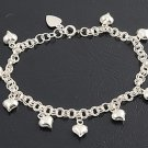 Silver Bracelet W/ Charm - Heart 925 Solid Sterling Silver   7-7.75 inches
