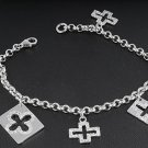 Silver Bracelet W/ Charms - Crosses 925 Solid Sterling Silver Clear CZ  7 inches