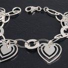 Silver Italian Bracelet W/ Charms - Heart 925 Solid Sterling Silver   7 mm Inch