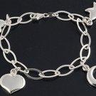 Silver Italian Bracelet W/ Charm - Star, Heart & Moon 925 Solid Sterling Silver