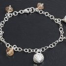 Silver Italian Bracelet W/ Charm 925 Solid Sterling Silver Champagne Crystal  7