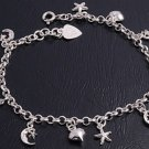 Silver Bracelet W/ Heart And Peace Sign Charms 925 Solid Sterling Silver