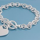 Silver Round Link Bracelet W/ Heart - 8 mm 925 Solid Sterling Silver    Inch