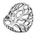 24MM WIDE BAND TREE OF LIFE RING Plain Solid Sterling Silver Band Size 5-10 925