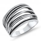 10MM WIDE OPEN BAND PLAIN SILVER RING Solid Sterling Silver Size 6-10 925 Solid