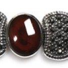 Vintage Inspired Garnet and Black CZ Silver Marcasite Bracelet Sterling Silver 7
