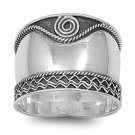 925 Solid Sterling Silver Ring - Bali Design Band 18 mm