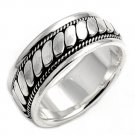 925 Solid Sterling Silver Ring - Rope Design Band