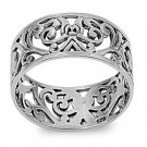 925 Solid Sterling 10MM PLAIN SILVER FILIGREE BAND 925 Solid Sterling Silver Rin