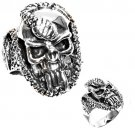 925 Solid Sterling MEN'S SKULL WITH SNAKE RING 925 Solid Sterling Band Sizes 9-1