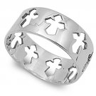 925 Solid Sterling Silver Ring - Cross Band