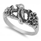 925 Solid Sterling Silver Ring - Bird Band 12mm