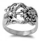 925 Solid Sterling Silver Ring - Butterfly And Flower Band 14mm