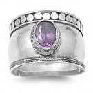 Oval Cut Amethyst Cubic Zirconia Solitaire Ring Sterling Silver AMETHYST