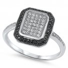 MICRO PAVE BLACK & WHITE CZ WINDOW PANE Sterling Silver Ring Size 5-10 Sterling