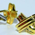 "$1200 MENS LOVE KNOT ""X"" 14KT YELLOW GOLD CUFF LINKS"