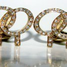 $2200 NATURAL 1.1CT DIAMONDS DOUBLE LIFE CIRCLE CUFF LINKS 14KT
