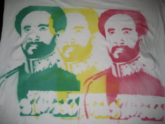 Haile Selassie Bamboo T-Shirt - Rastafari *XL*Red Gold Green