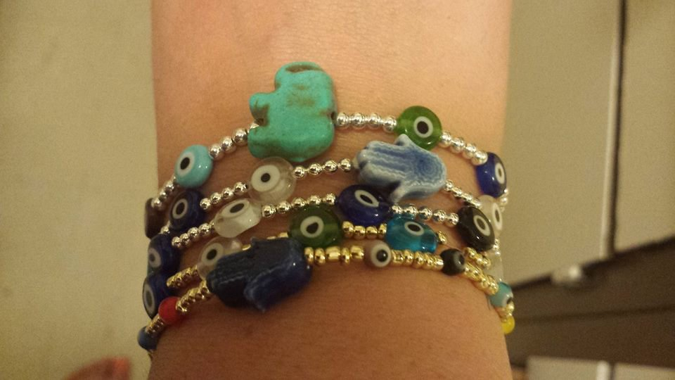 Sterling Silver Beaded Evil Eye Bracelet with Hamsa or Elephant charm