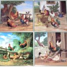 "Rooster Ceramic Tile Chicken Scenes Number 1 2 3 and 4  size 4.25"" x 4.25"""