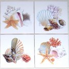 "Shells Star Fish Set of 4 Ceramic Tiles 4.25"" Kiln Fired Sea Shell Bathroom"