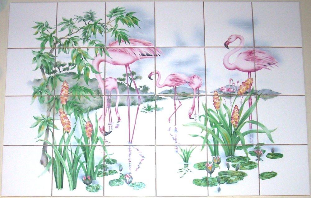 Flamingos Tropical Island Ceramic Tile Mural Palms 24Pc Backsplash Kiln Fired