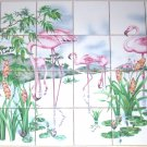 Flamingos Tropical Island Ceramic Tile Mural Palms 24Pc Backsplash Kiln Fired