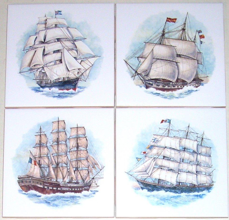"Ship Ceramic Tiles Sailing set of 4 Kiln Fired 4.25"" x 4.25"""