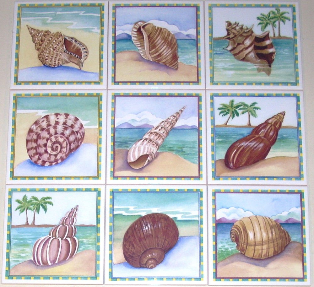"Sea Shell Ceramic Tile Back Splash Tropical Shells 6"" Set of 9 Kiln Fired"