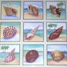 "Sea Shell Ceramic Tile Back Splash Tropical Shells 6"" Set of 9 Kiln Fired"