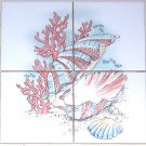 Fish Ceramic Tile Mural Star Fish Sea Shells Coral Backsplash 4pcs of 4.25""