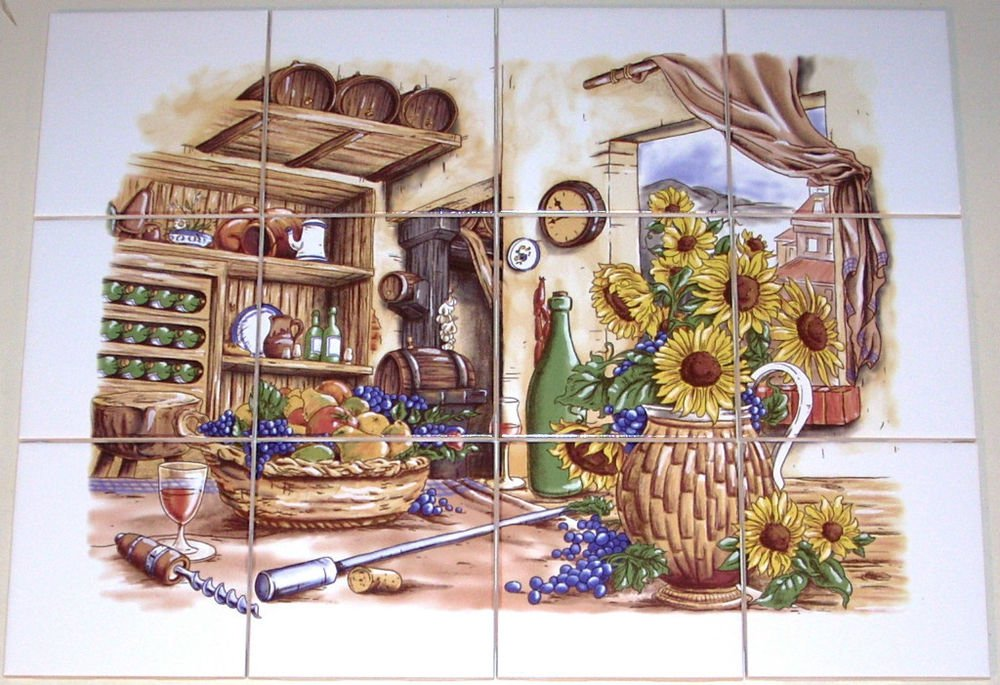 "Wine Ceramic Tile Mural Pantry 12pcs 4.25"" Sunflower Backsplash Kiln Fired"