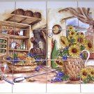 "Closeout Wine Ceramic Tile Mural Pantry 12pcs 4.25"" Sunflower Backsplash Kiln Fired"