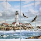 "Light House Ceramic Tile Mural Eagles Backsplash 12pcs of 4.25"" Kiln Fired Tiles"