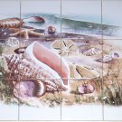 "Closeout Sea Shell Ceramic Tile Murals Kiln Fired Back Splash 12pc 4.25"" Shells Sea Scape"