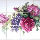 "CLOSEOUT Rose Ceramic Tile Mural Flower  12 pc 4.25"" Backsplash Kiln Fired"