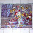 Country Window Ceramic Tile Mural Flowers Apples Daisies 20pcs of 4.25""