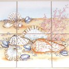 "Closeout Shell Coral Ceramic Tile Mural  Shells 6 of 4.25"" Kiln Fired Back Splash"