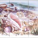 "Seascape Ceramic Tile Mural Sea Shell Shells 6pc 4.25"" Kiln Fired"