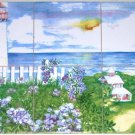 "White Light House Ceramic Tile Mural 6 of 6"" Lighthouse Backsplash Kiln Fired"