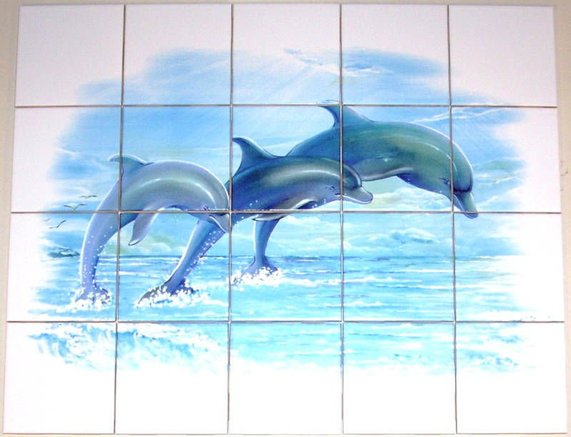 dolphin ceramic tile mural 20 pcs of blue dolphins